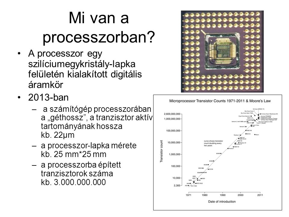 Mi van a processzorban A processzor egy szilíciumegykristály-lapka felületén kialakított digitális áramkör.