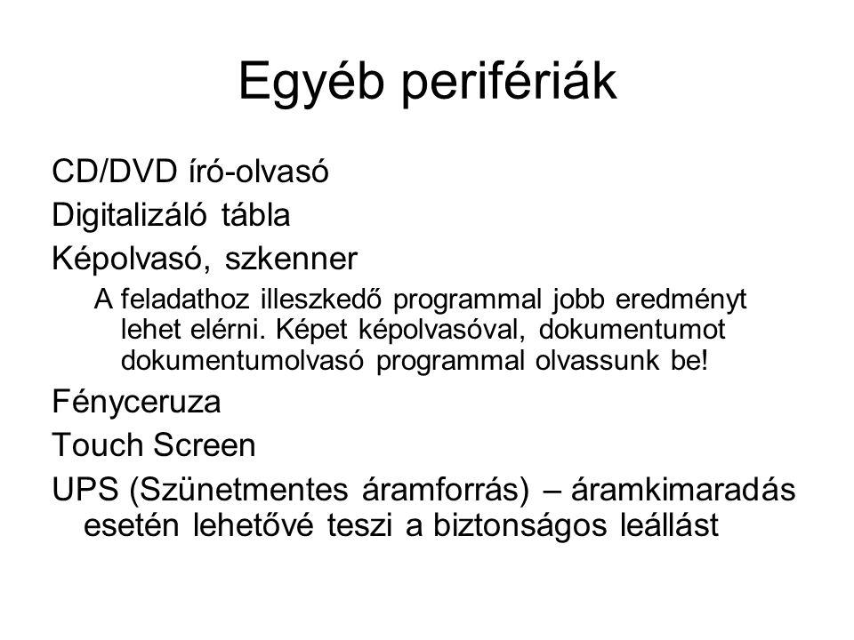 Egyéb perifériák CD/DVD író-olvasó Digitalizáló tábla