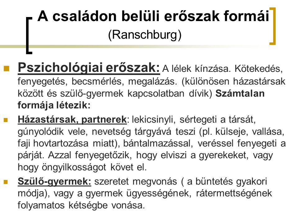 A családon belüli erőszak formái (Ranschburg)