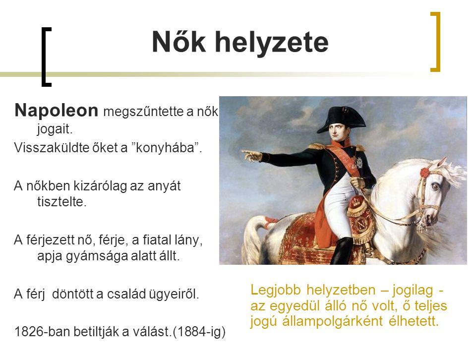 Nők helyzete Napoleon megszűntette a nők jogait.