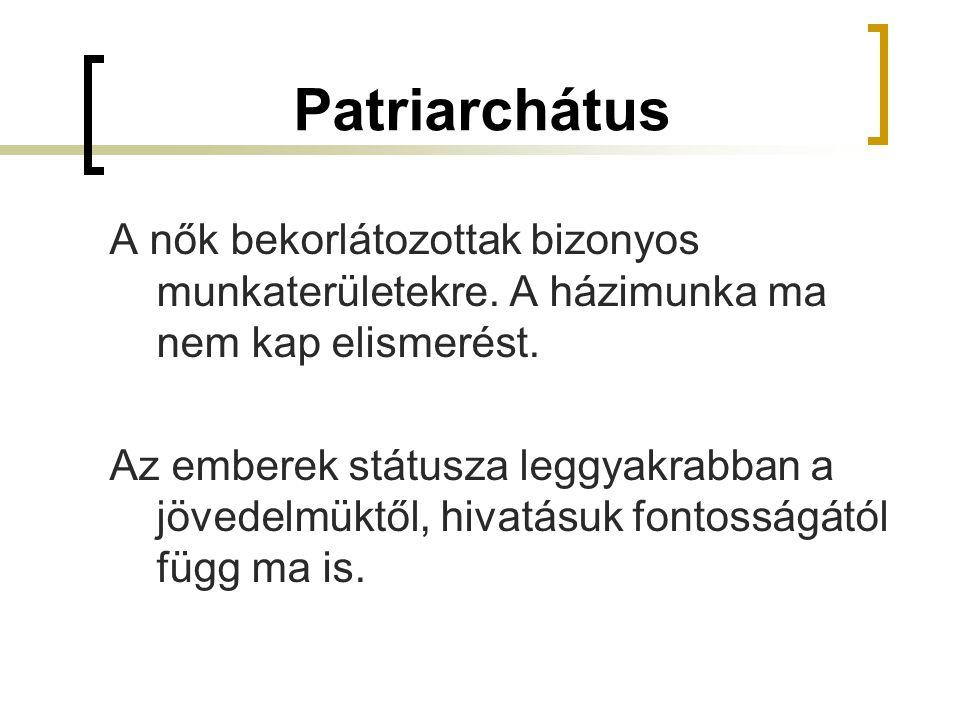 Patriarchátus A nők bekorlátozottak bizonyos munkaterületekre. A házimunka ma nem kap elismerést.