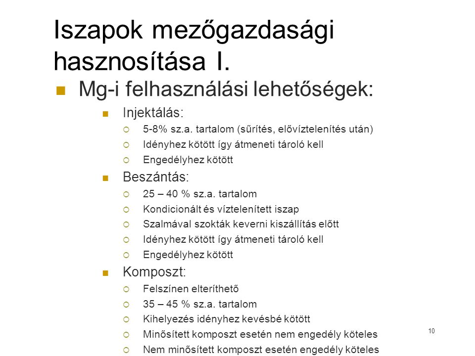 Iszapok mezőgazdasági hasznosítása I.