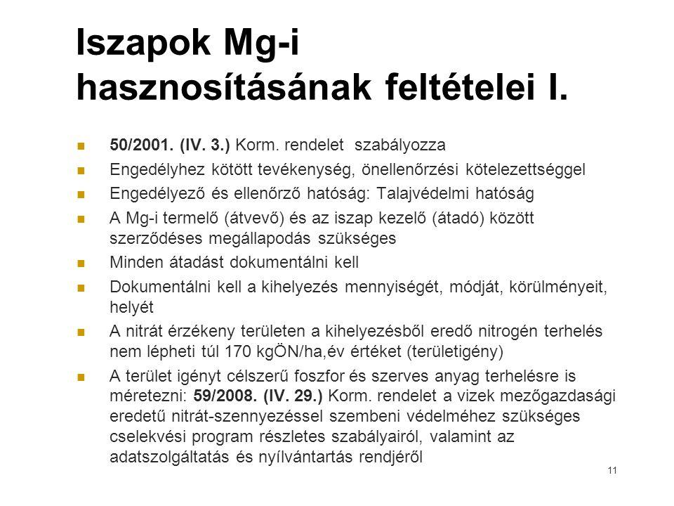 Iszapok Mg-i hasznosításának feltételei I.