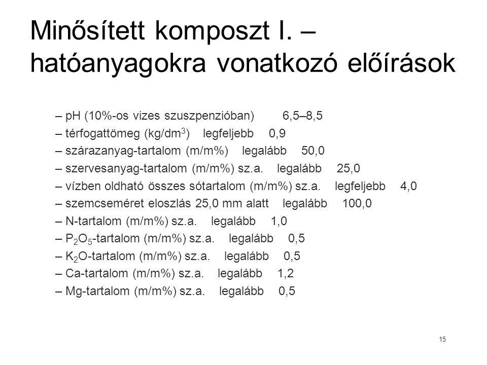 Minősített komposzt I. – hatóanyagokra vonatkozó előírások