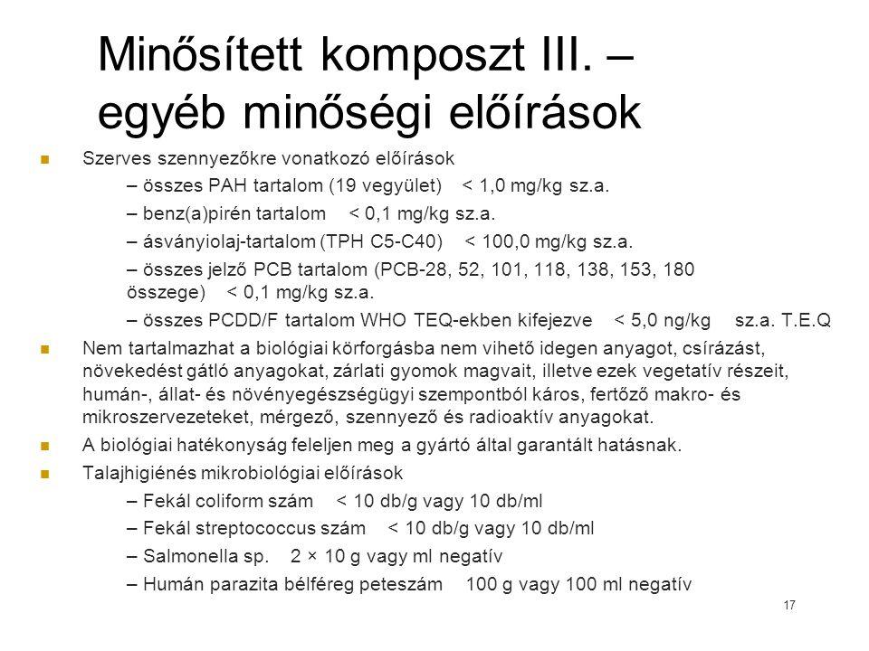 Minősített komposzt III. – egyéb minőségi előírások