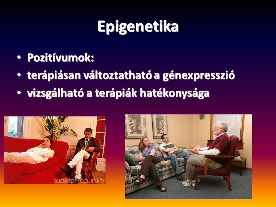Epigenetika Pozitívumok: terápiásan változtatható a génexpresszió