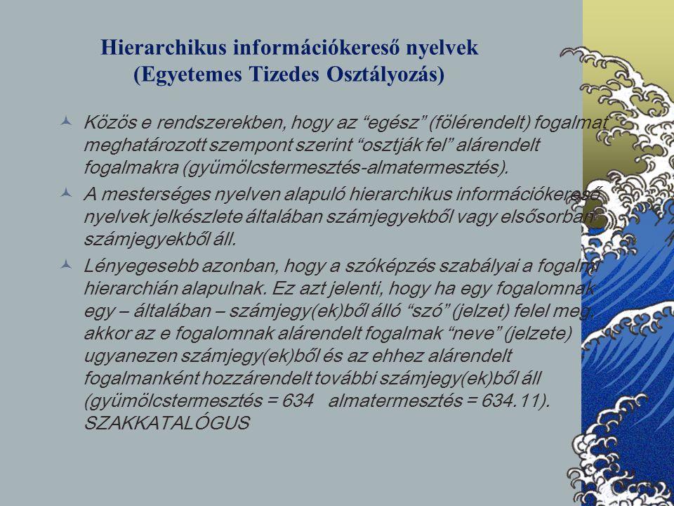 Hierarchikus információkereső nyelvek (Egyetemes Tizedes Osztályozás)