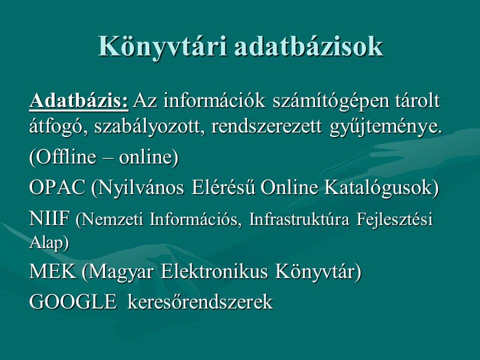 Könyvtári adatbázisok