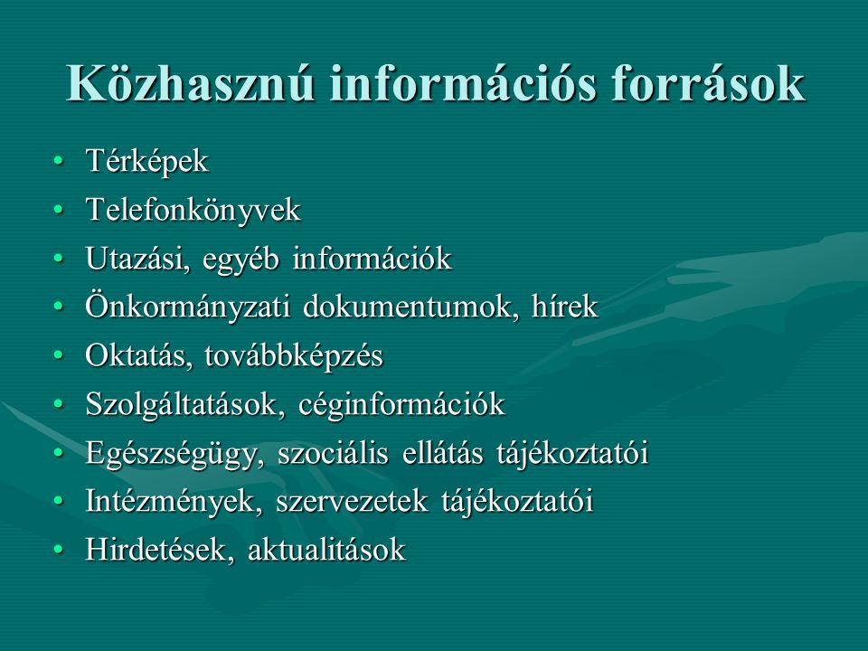 Közhasznú információs források