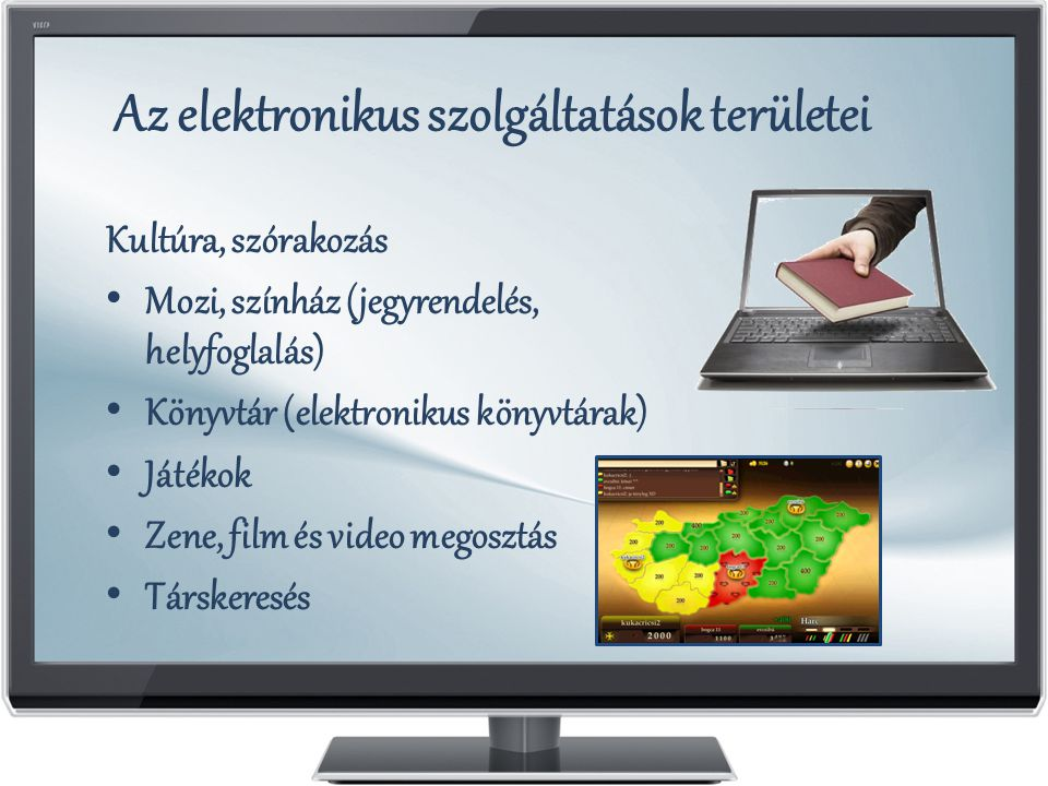 Az elektronikus szolgáltatások területei