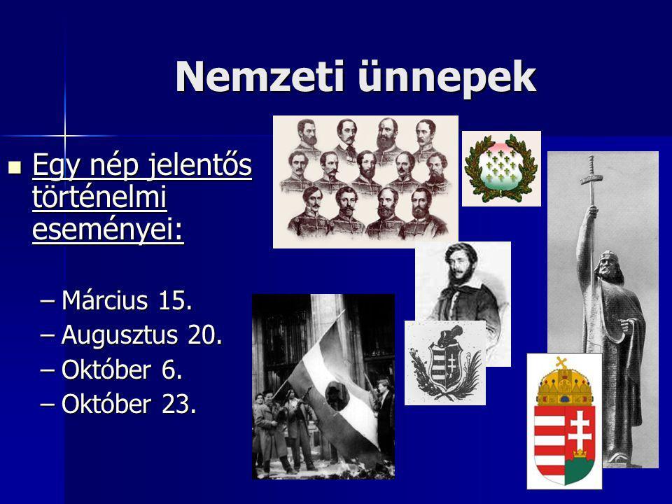 Nemzeti ünnepek Egy nép jelentős történelmi eseményei: Március 15.