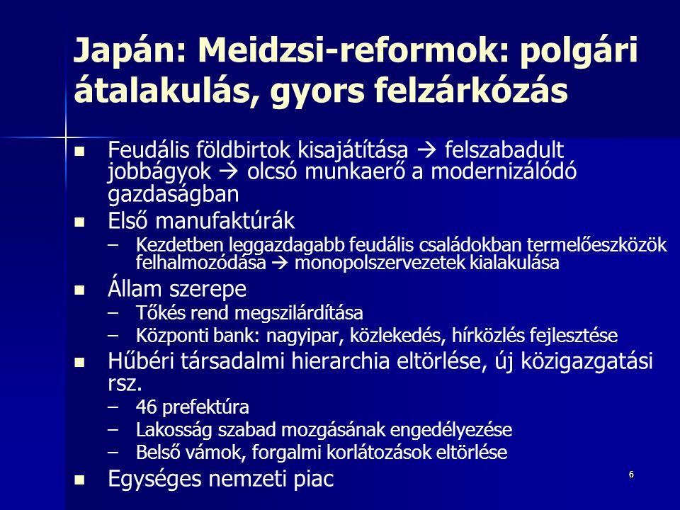 Japán: Meidzsi-reformok: polgári átalakulás, gyors felzárkózás