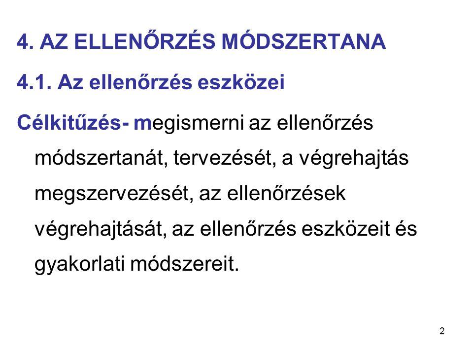 4. AZ ELLENŐRZÉS MÓDSZERTANA