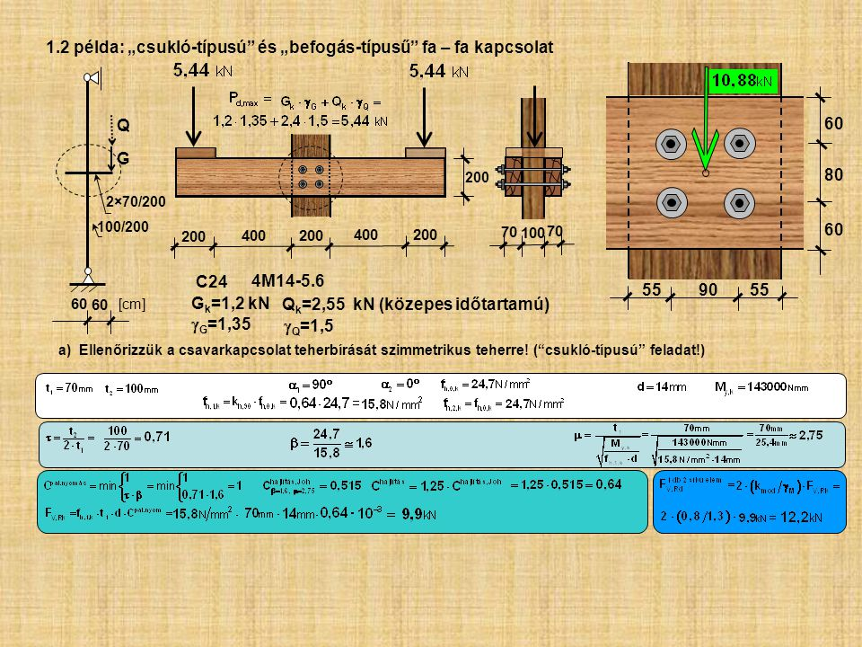 """1.2 példa: """"csukló-típusú és """"befogás-típusű fa – fa kapcsolat"""