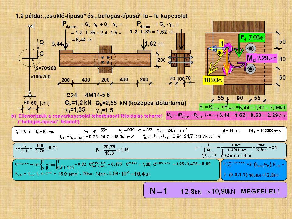 """Md 1.2 példa: """"csukló-típusú és """"befogás-típusű fa – fa kapcsolat Q"""