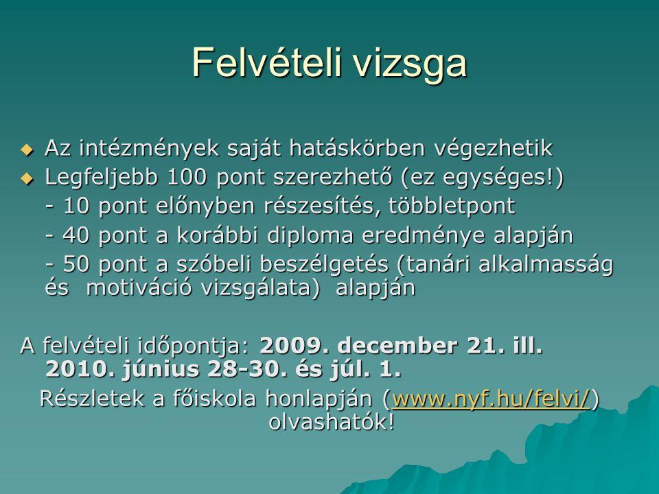 Részletek a főiskola honlapján (www.nyf.hu/felvi/) olvashatók!