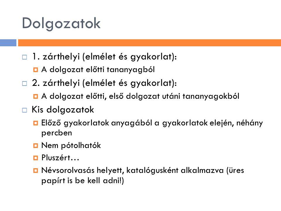 Dolgozatok 1. zárthelyi (elmélet és gyakorlat):