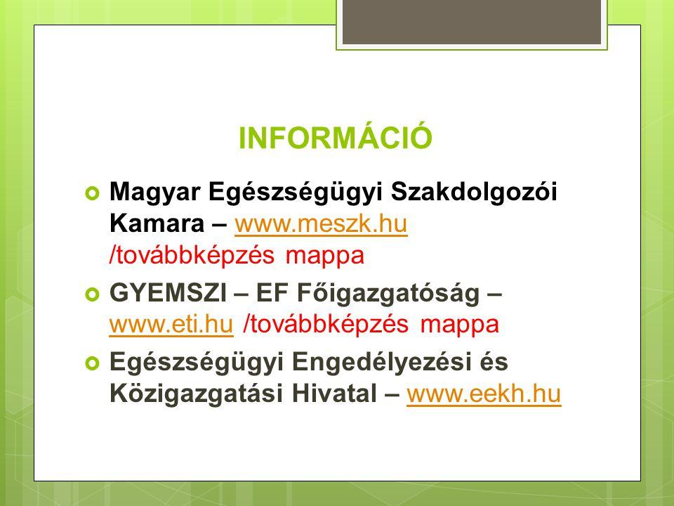 INFORMÁCIÓ Magyar Egészségügyi Szakdolgozói Kamara – www.meszk.hu /továbbképzés mappa. GYEMSZI – EF Főigazgatóság – www.eti.hu /továbbképzés mappa.