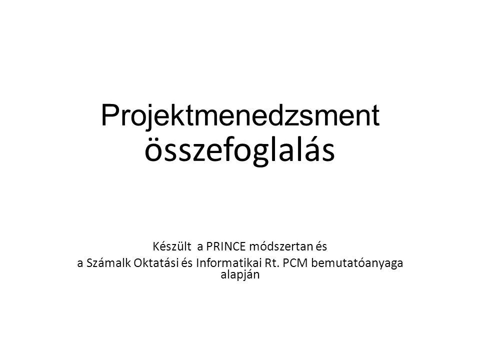 összefoglalás Projektmenedzsment Készült a PRINCE módszertan és