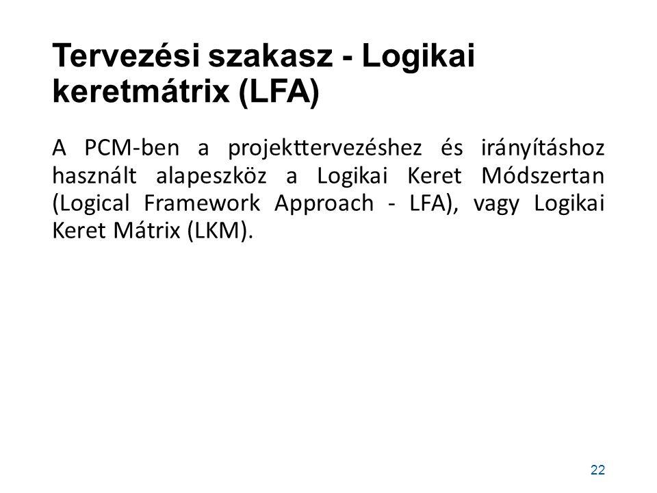 Tervezési szakasz - Logikai keretmátrix (LFA)