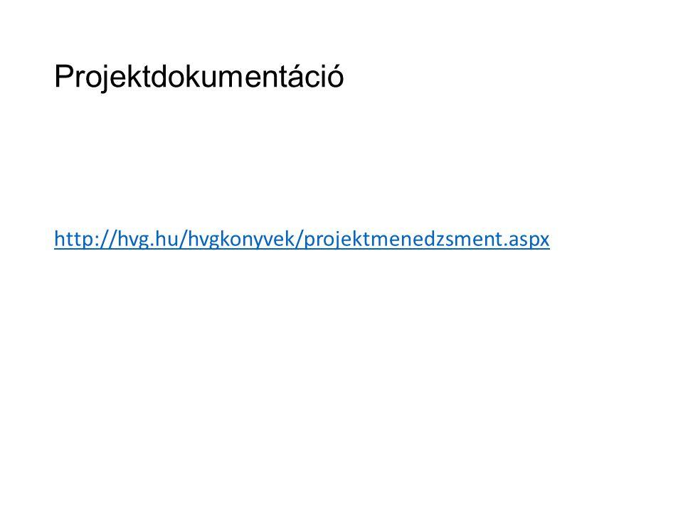 Projektdokumentáció http://hvg.hu/hvgkonyvek/projektmenedzsment.aspx
