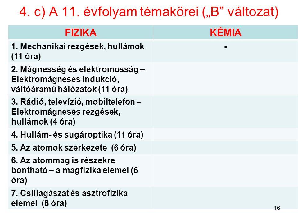 """4. c) A 11. évfolyam témakörei (""""B változat)"""