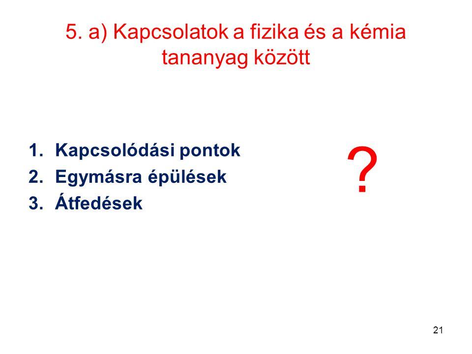 5. a) Kapcsolatok a fizika és a kémia tananyag között
