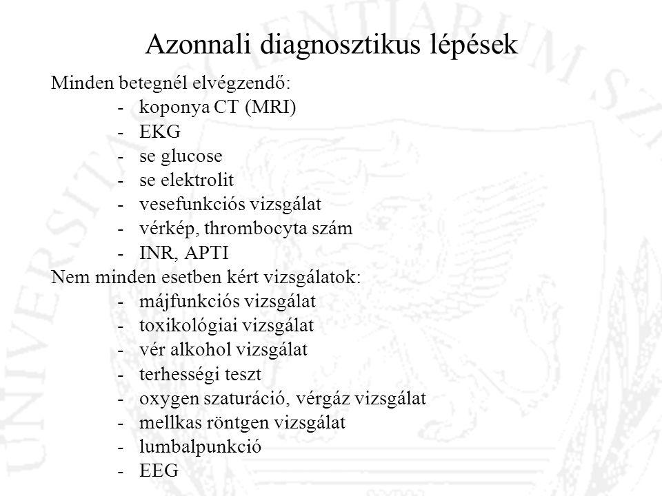 Azonnali diagnosztikus lépések