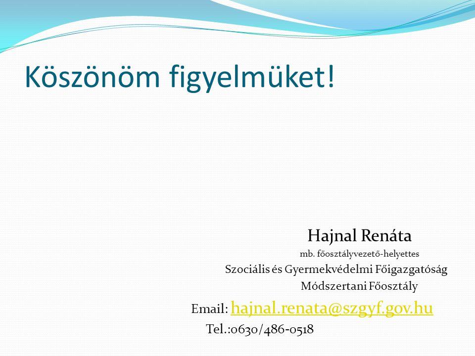 Köszönöm figyelmüket! Hajnal Renáta Email: hajnal.renata@szgyf.gov.hu