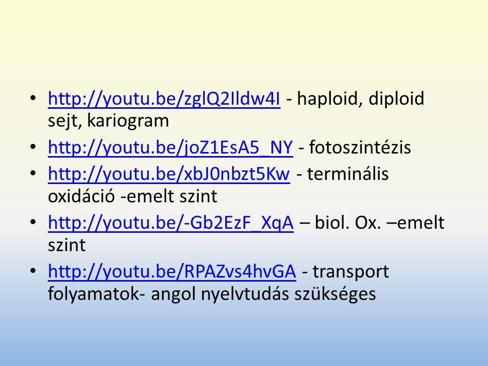 http://youtu.be/zglQ2Ildw4I - haploid, diploid sejt, kariogram