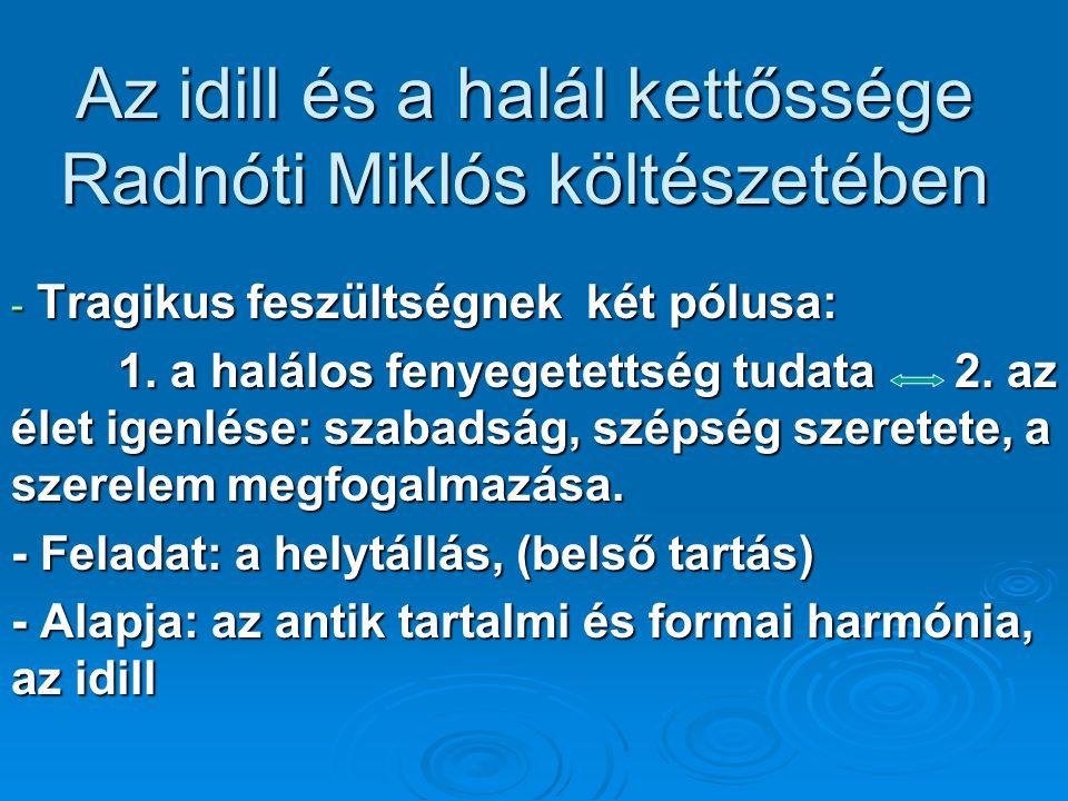 Az idill és a halál kettőssége Radnóti Miklós költészetében