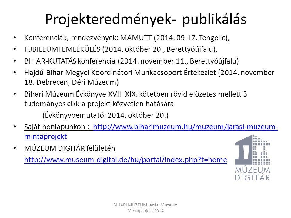 Projekteredmények- publikálás