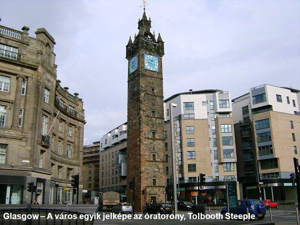 Glasgow – A város egyik jelképe az óratorony, Tolbooth Steeple