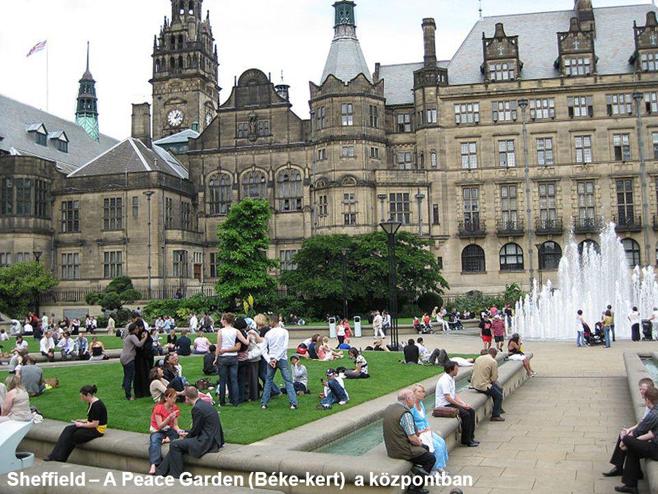 Sheffield – A Peace Garden (Béke-kert) a központban