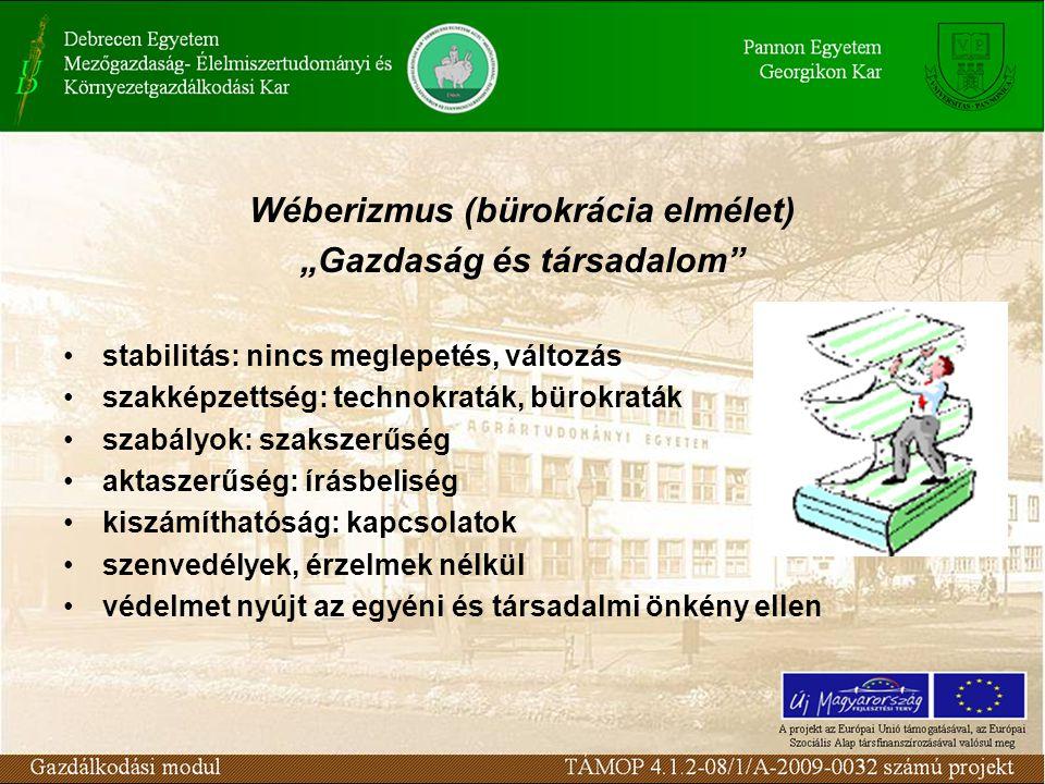 """Wéberizmus (bürokrácia elmélet) """"Gazdaság és társadalom"""