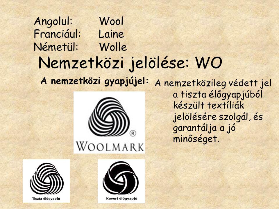 Angolul: Wool Franciául: Laine Németül: Wolle Nemzetközi jelölése: WO