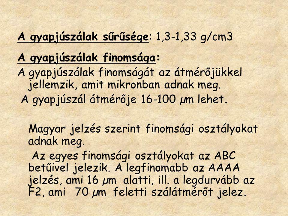 A gyapjúszálak sűrűsége: 1,3-1,33 g/cm3
