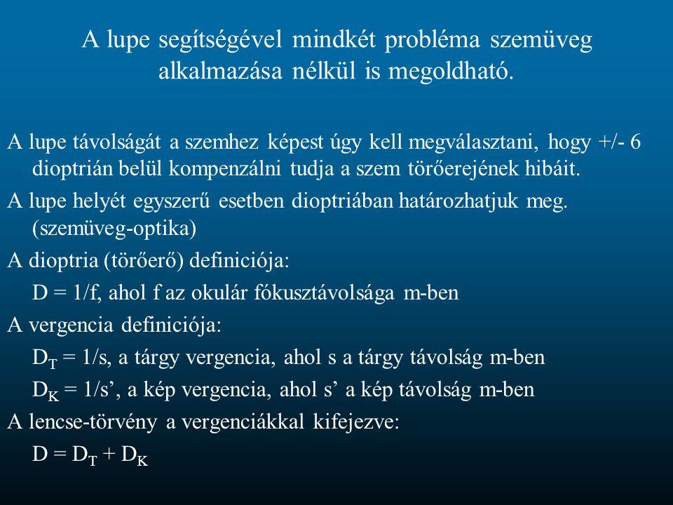 A lupe segítségével mindkét probléma szemüveg alkalmazása nélkül is megoldható.