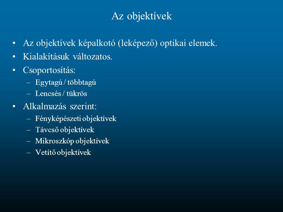 Az objektívek Az objektívek képalkotó (leképező) optikai elemek.