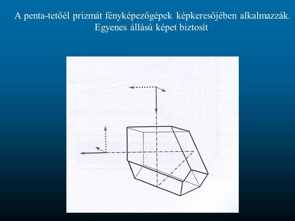 A penta-tetőél prizmát fényképezőgépek képkeresőjében alkalmazzák