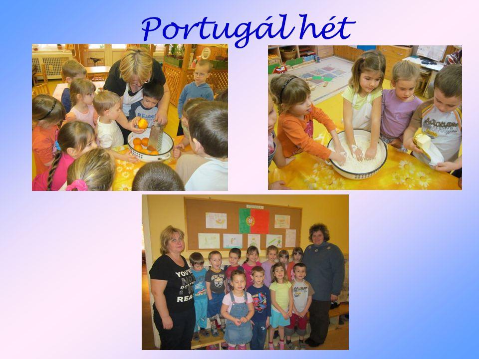 Portugál hét A portugál héten szintén süteményt és zászlót készítettünk, valamint illusztrációt a portugál népmeséhez.