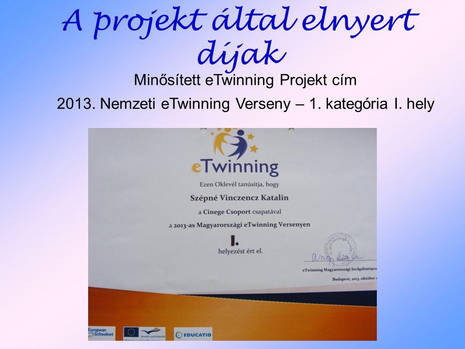 A projekt által elnyert díjak