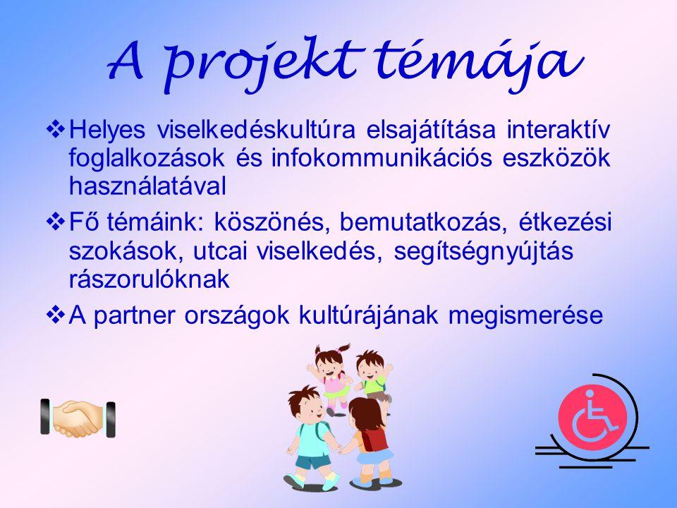 A projekt témája Helyes viselkedéskultúra elsajátítása interaktív foglalkozások és infokommunikációs eszközök használatával.