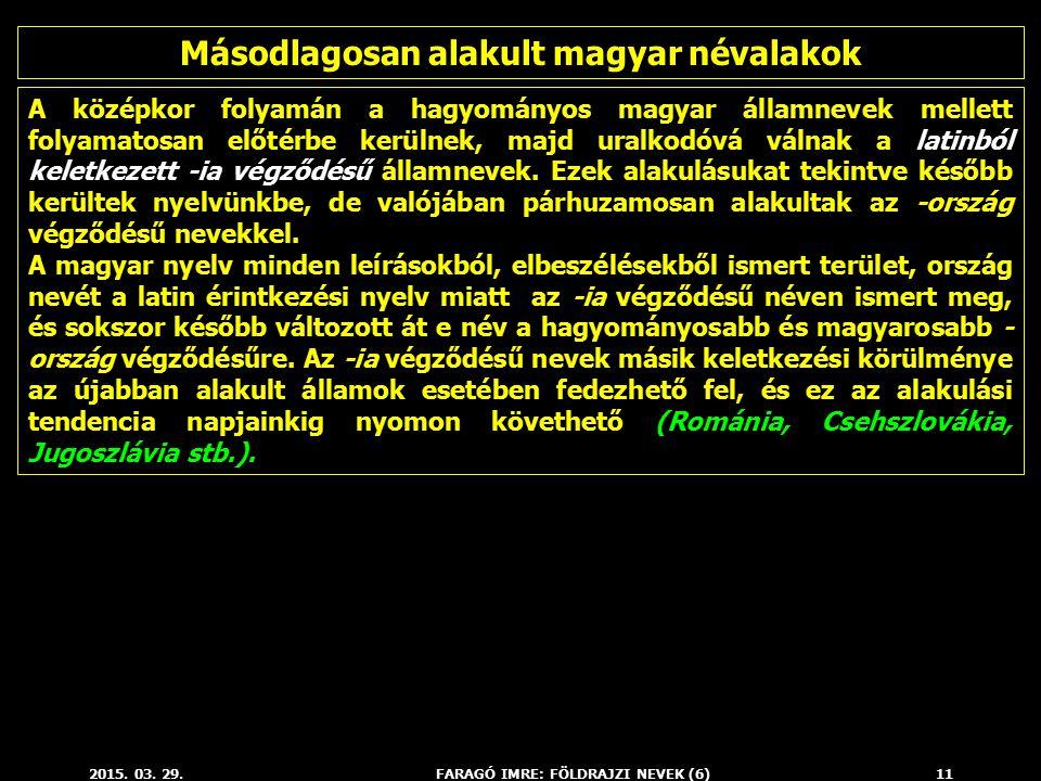 Másodlagosan alakult magyar névalakok FARAGÓ IMRE: FÖLDRAJZI NEVEK (6)