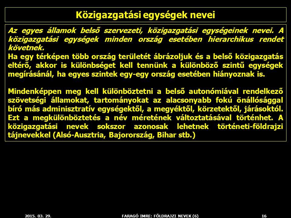 Közigazgatási egységek nevei FARAGÓ IMRE: FÖLDRAJZI NEVEK (6)
