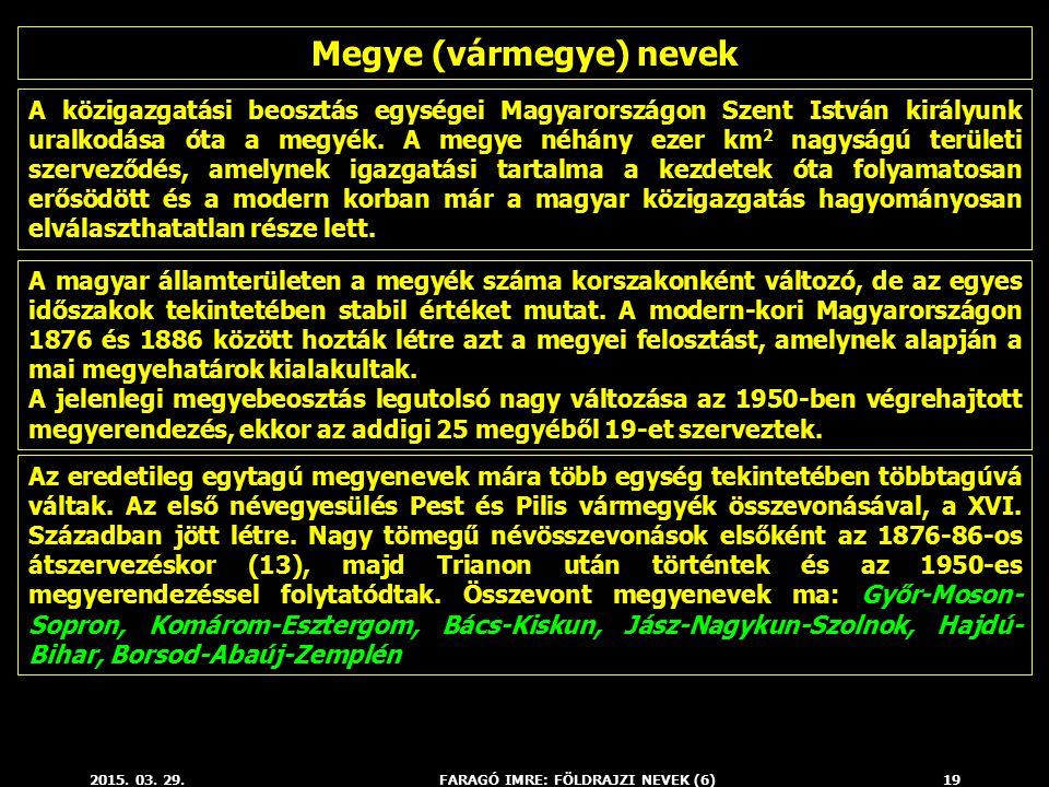 Megye (vármegye) nevek FARAGÓ IMRE: FÖLDRAJZI NEVEK (6)