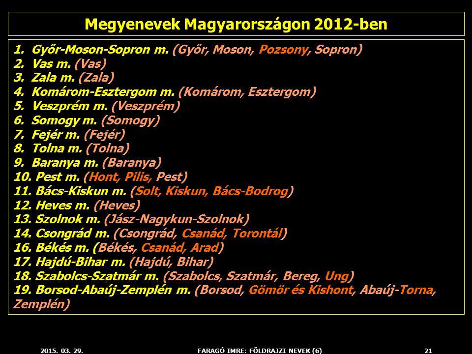 Megyenevek Magyarországon 2012-ben FARAGÓ IMRE: FÖLDRAJZI NEVEK (6)