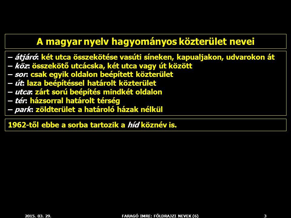 A magyar nyelv hagyományos közterület nevei