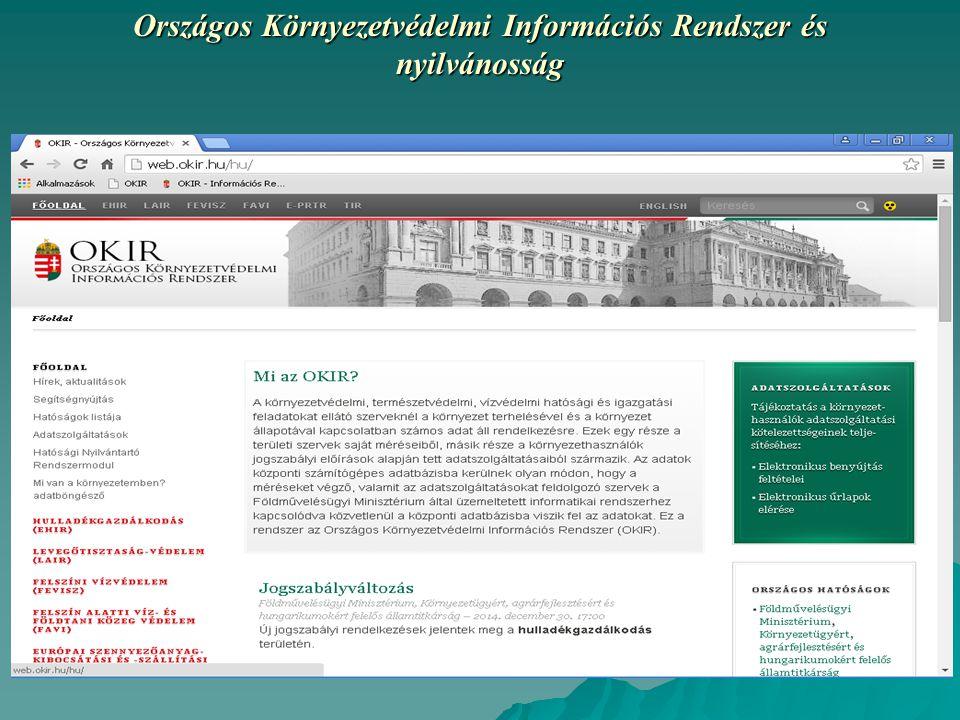 Országos Környezetvédelmi Információs Rendszer és nyilvánosság