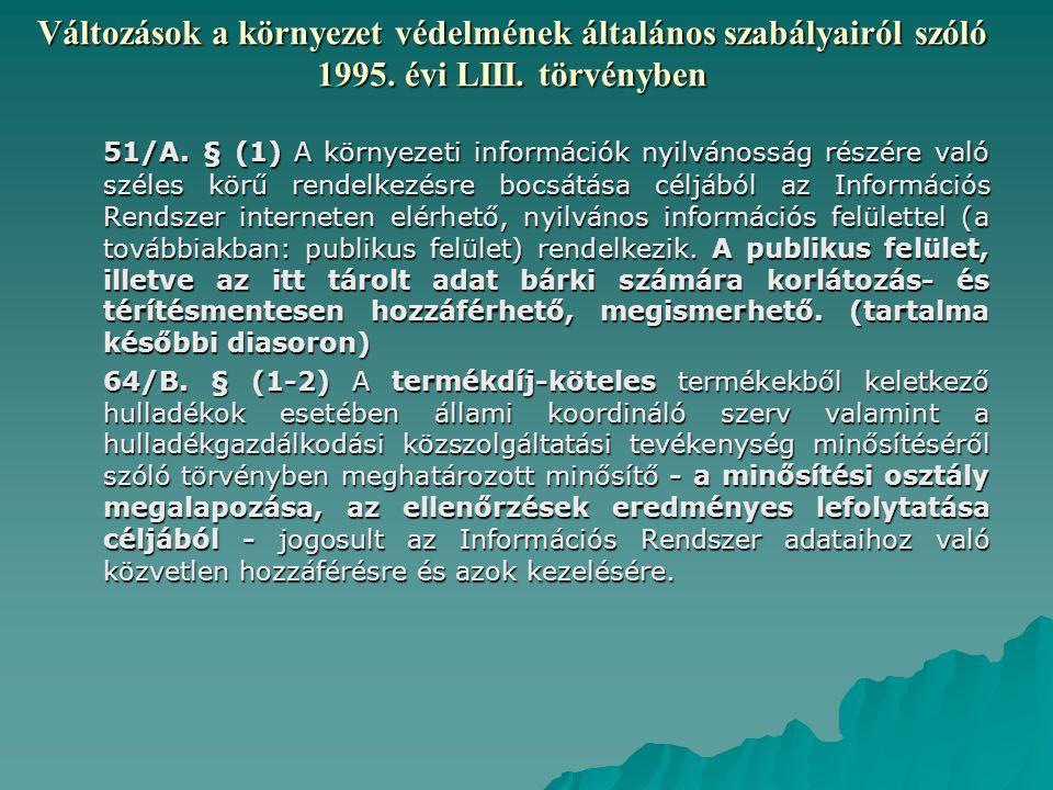 Változások a környezet védelmének általános szabályairól szóló 1995